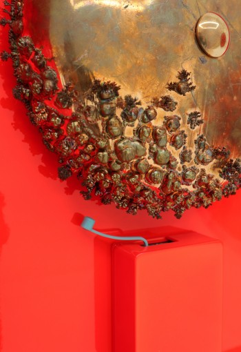 Stressor, 2019 (Detail)<br /> Copper-plated steel, stainless steel, powdercoated stainless steel, powdercoated aluminum, urethane, motor and driver